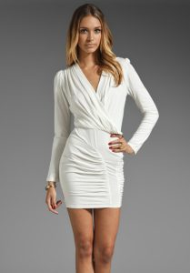 Long Sleeve White Mini Dress