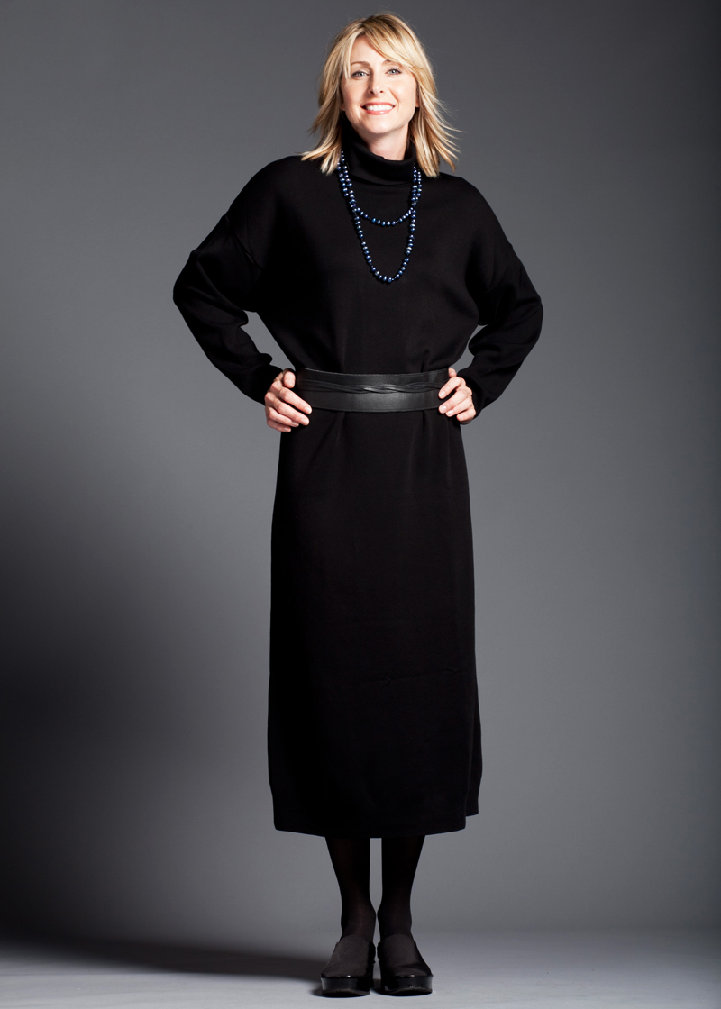 Long Black Turtleneck Dress