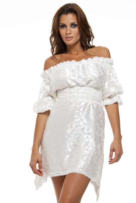 Plus size off the shoulder peasant dress