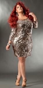 Plus Size Long Sleeve Sequin Dress
