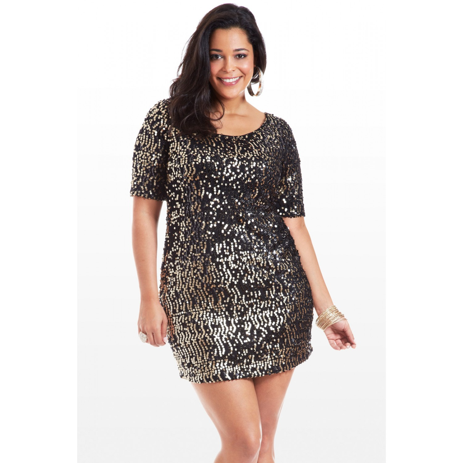 Plus Size Sequin Skater Dress Plus Size Sequin Dresses