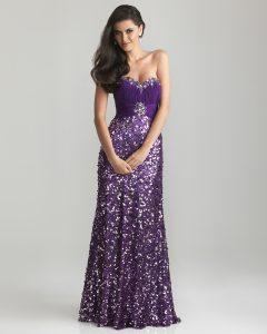 Purple Sequin Prom Dress