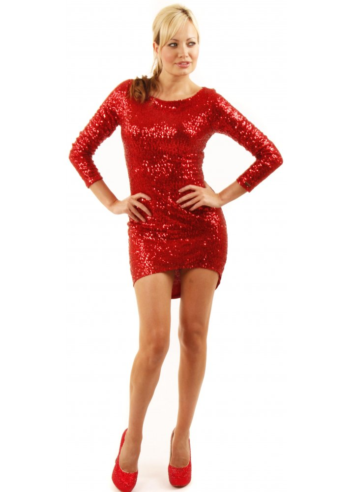 Collection Red Sequin Mini Dress Pictures - Reikian