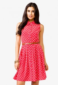 Red with White Polka Dot Dress