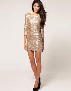 Sequin Long Sleeve Mini Dress