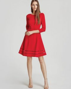 Sleeve Red Fit and Flare Dress