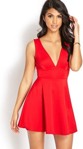 Sleeveless Red Fit and Flare Dress