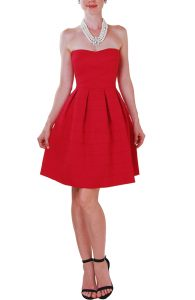 Strapless Red Fit and Flare Dress