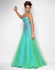 Strapless Sequin Prom Dress