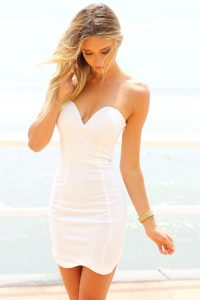 Strapless White Mini Dress