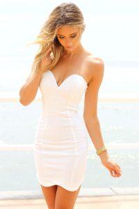 Strapless White Mini Dress