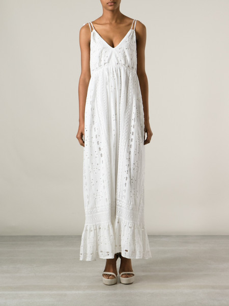 67ba8c3d77d7 Lyst - Luisa Beccaria Eyelet Maxi Dress in White
