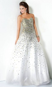 White Sequin Prom Dress