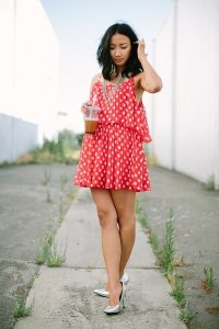 White and Red Polka Dot Dress