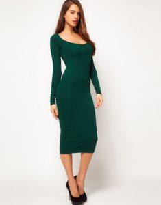 Long Sleeve Bodycon Midi Dress
