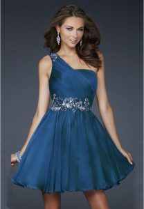 Blue One Shoulder Cocktail Dress