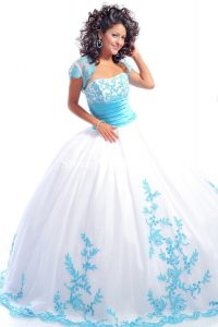 Blue and White Quinceanera Dresses