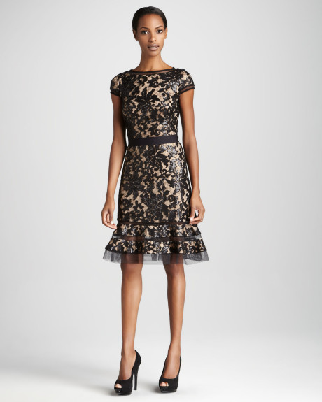 black lace cocktail dress dressed up girl