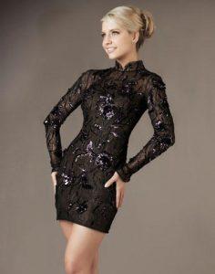Long Sleeve Black Cocktail Dress