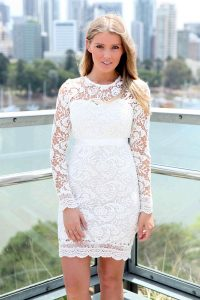 Long Sleeve White Lace Cocktail Dress