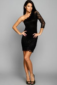Long Sleeves Black Lace Cocktail Dress