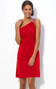 One Shoulder Red Cocktail Dress