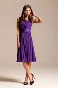 Purple One Shoulder Cocktail Dress