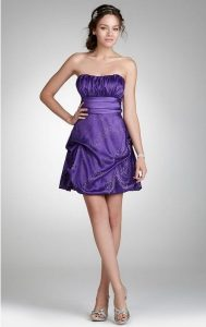 Purple Strapless Cocktail Dress