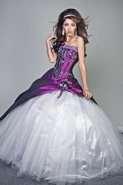 White Quinceanera Dresses | Dressed Up Girl White And Purple Quinceanera Dresses