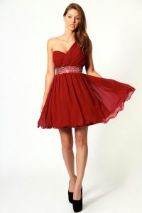 Red One Shoulder Cocktail Dress
