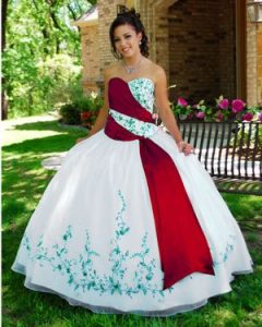 Red and White Quinceanera Dresses
