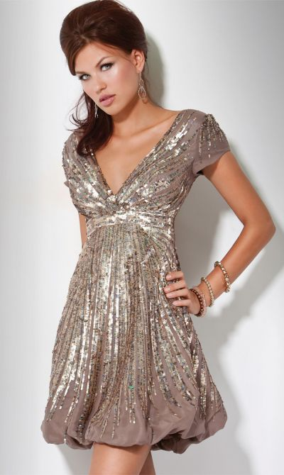 Sequin Cocktail Dress with Sleeves