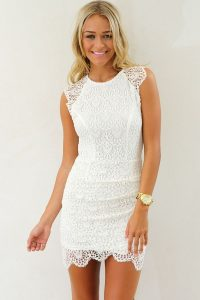 Short White Lace Cocktail Dress