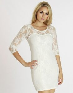White Lace Cocktail Dress Photos