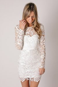 White Lace Cocktail Dress Pictures