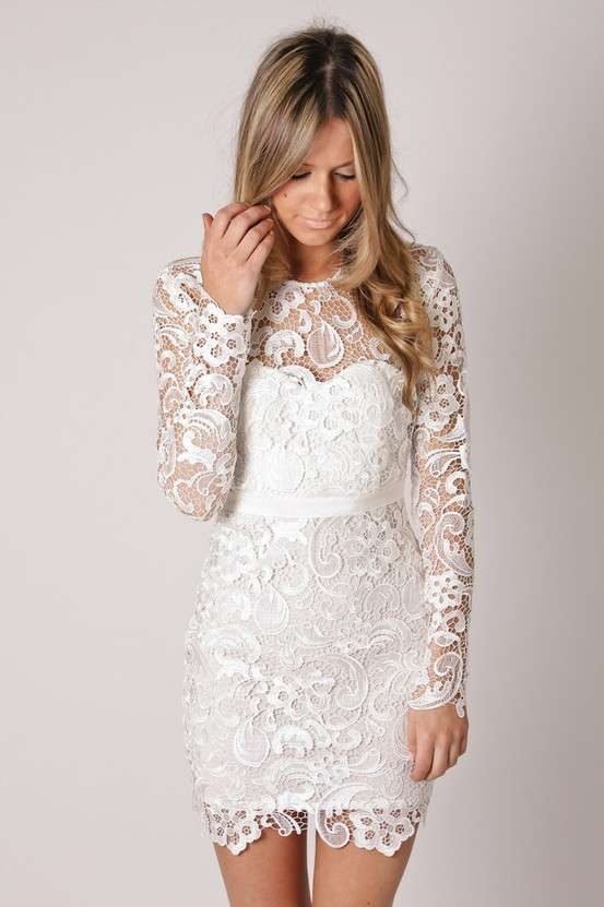 White Lace Tail Dress Pictures
