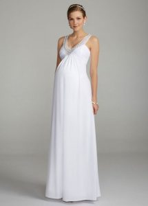 White Long Maternity Dress