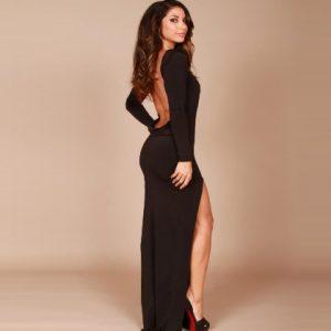 Black Backless Prom Dress