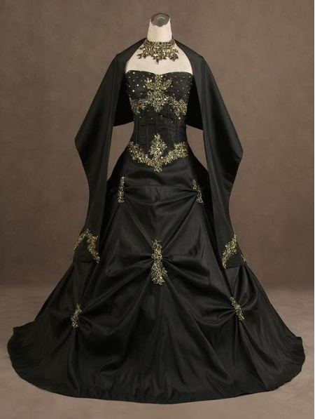 Black bride dress gothic