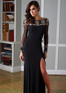 Black Long Sleeve Prom Dress
