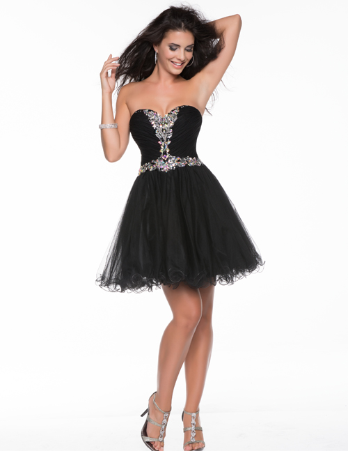 Debs dresses short black&white strapless