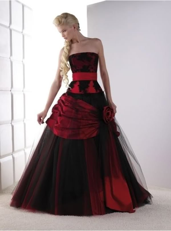 Black wedding dresses dressed up girl for Red and black wedding dresses