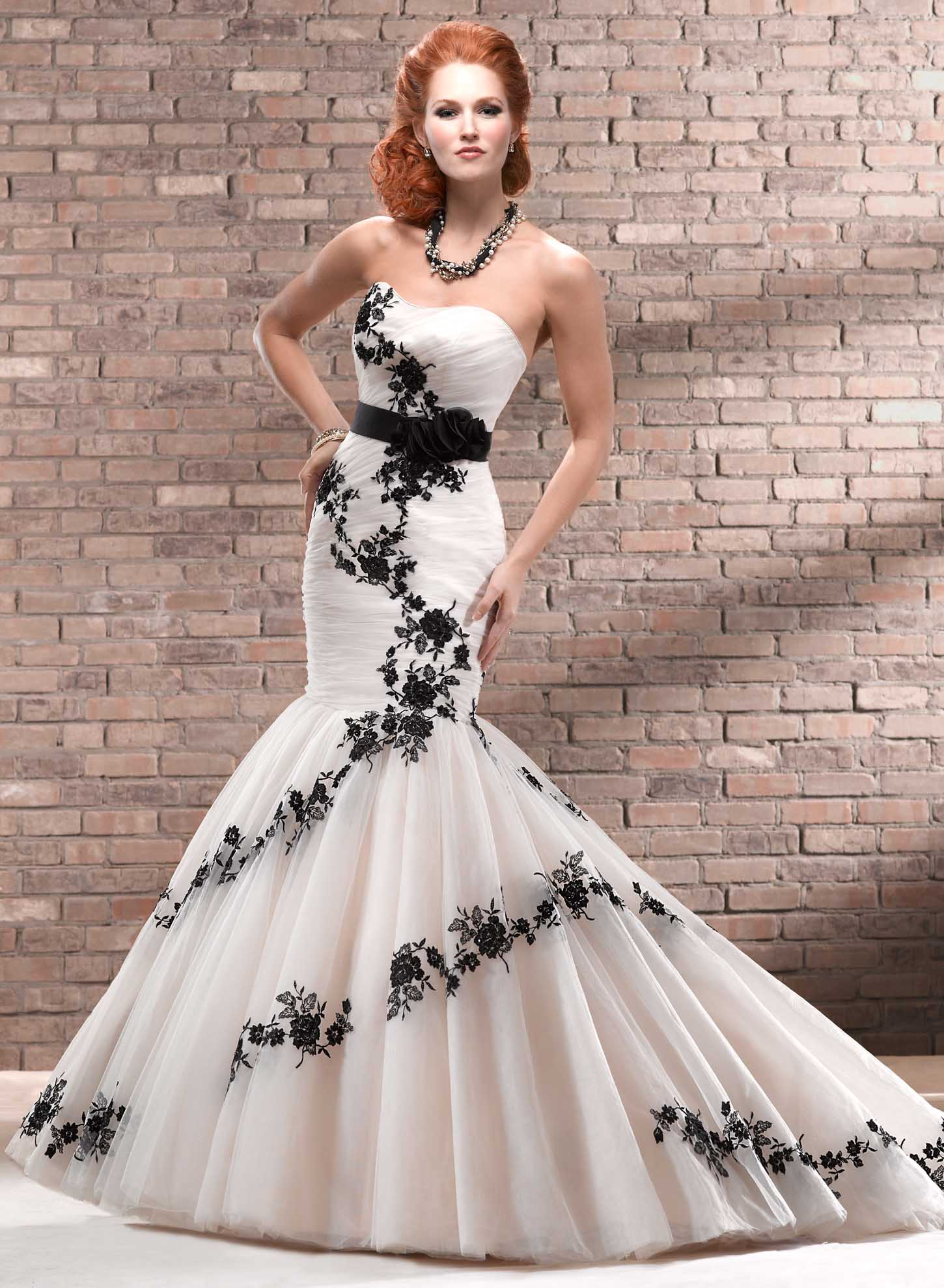 Black wedding dresses dressed up girl for Unique black and white wedding dresses