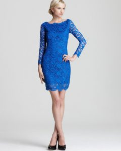 Blue Long Sleeve Lace Dress