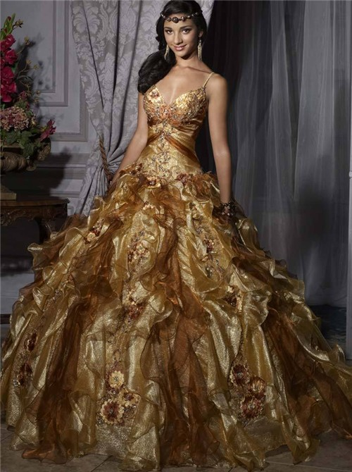 gold quinceanera dresses dressed up girl