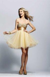 Gold Short Prom Dresses