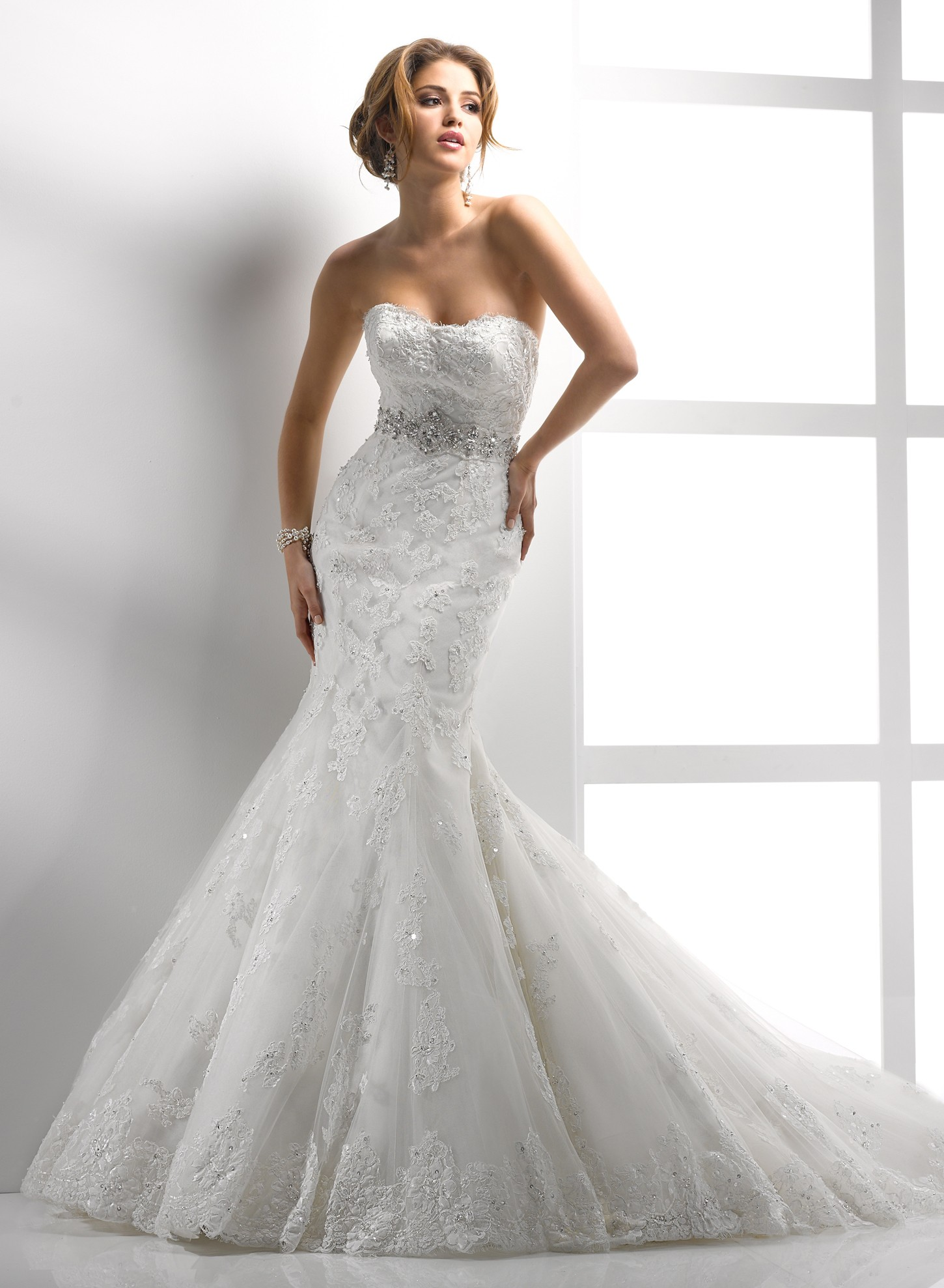 Lace Mermaid Wedding Dress  White Lace Mermaid Wedding Dress