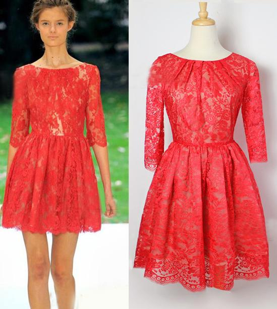 Red Lace Dress With Sleeves - Dress