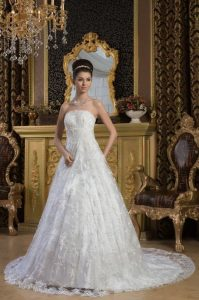 Lace Strapless Wedding Dress
