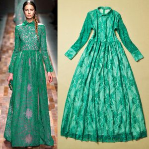 Long Green Lace Dress